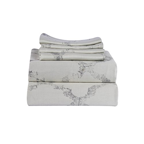 Just Linen 500 Thread Count 100% Cotton Damask, Abstract design, Grey color, Queen 4 Piece Sheet Set with Deep Pocketed Fitted ()