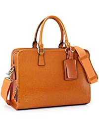 Genuine Leather Briefcase for Women, Large Capacity Laptop bag with Luggage Tag