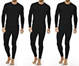 Thermajohn Men's Ultra Soft Thermal Underwear Long Johns Set with Fleece Lined (XX-Large, 3 Pack - Black)