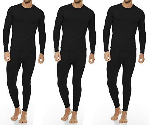 Thermajohn Men's Ultra Soft Thermal Underwear Long Johns Set with Fleece Lined (Small, 3 Pack - Black) ()