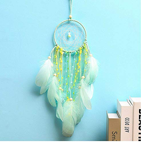 succeedtop LED Dream Catcher Cloud Feather Handmade Dream Catcher with Feathers, for Dreamcatcher,Girl Birthday,Gift,Baby Kids, Bedroom, Wall Hanging Decor Ornament Craft Decor (Green)