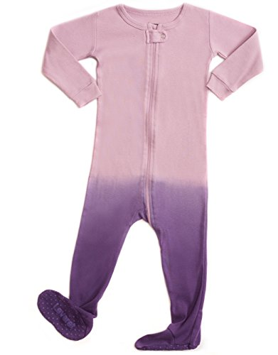 Leveret Organic Cotton Tie-Dye Purple Footed Pajama Sleeper 3 Years