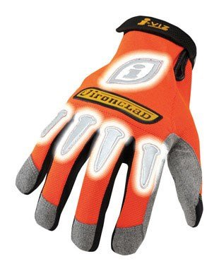 Ironclad Iviz Reflective Gloves - Ironclad IVO-04-L I-Viz Reflective Gloves, Reflective Orange, Large