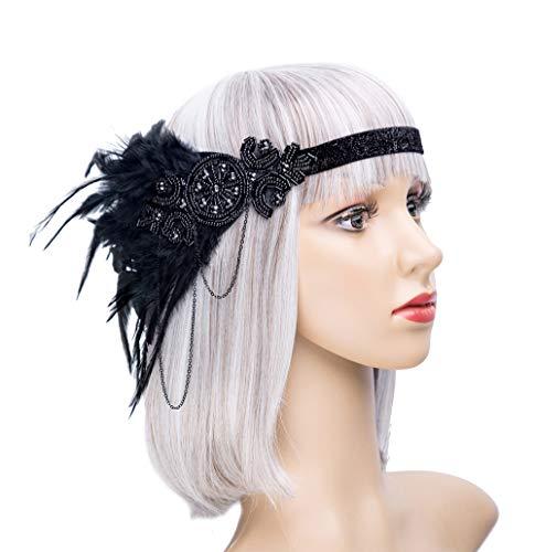 Vintage Black Feather 20s Headpiece 1920s Flapper Headband Roaring 20s Headband(F-Black)