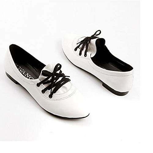 Scarpe Tacco Nero piatto Punta Bianco da ZHZNVX poliuretano Sneakers Comfort donna Primavera Estate chiusa White Rosa PU dgxwq6vz