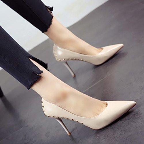 tacón zapato fina FLYRCX de Primavera remache c zapatos personalidad punta y verano sexy elegantes único fiesta vogue tacones YtXtHR