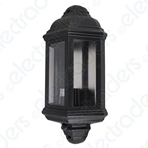 Deta L2835BK Polycarbonate Half Lantern with PIR Movement Sensor 3 Panel IP44 - Black