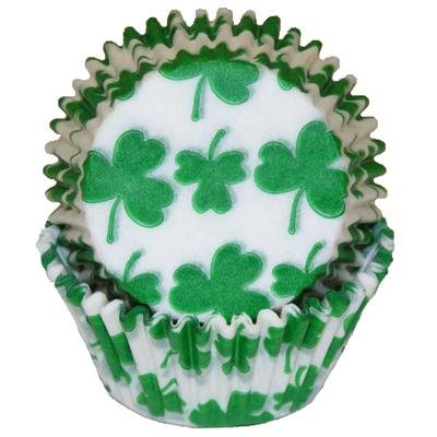 - 50 Shamrock Print Cupcake Liners Baking Cups STANDARD SIZE St. Patrick's Day