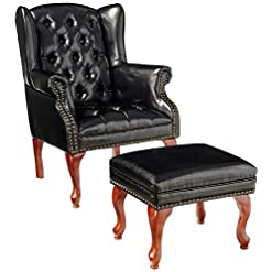 Farmhouse Accent Chairs Coaster Home Furnishings Wing Back Button Tufted Accent Chair and Ottoman Black and Espresso farmhouse accent chairs