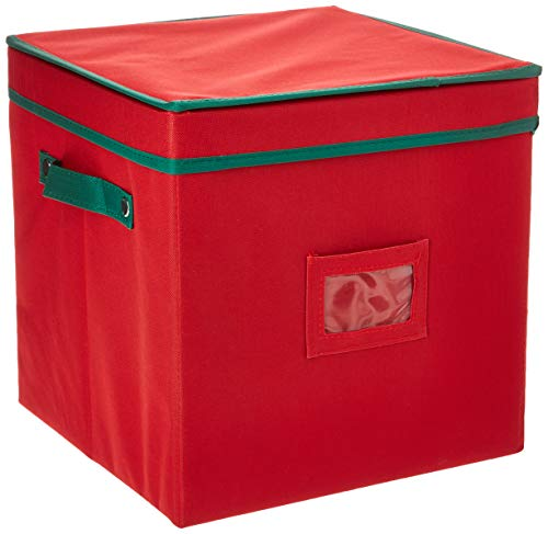 Elf Stor Ornament Storage Chest with Dividers - Holds 64 Balls, Red