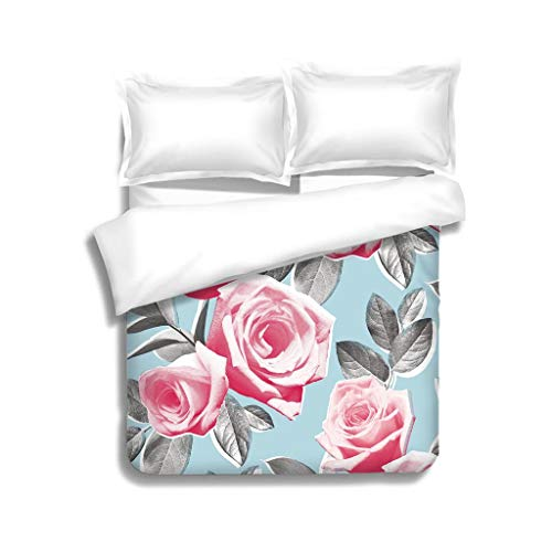 MTSJTliangwan Family Bed Photo Real Roses Wallpaper Pattern 3 Piece Bedding Set with Pillow Shams, Queen/Full, Dark Orange White Teal Coral - Fieldcrest Luxury Fitted Sheet