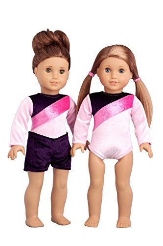 Little Gymnast - 2 piece outfit - Pink and purple gymnastic leotard with shorts - 18 inch doll clothes (dolls not included)