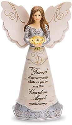 "Pavilion Gift Company Elements Friend Guardian Angel Figurine, 6"", Yellow"