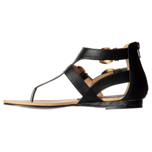 Pu Out Ladies Flatform Buckle Onlineshoe Black Black Cut Gladiator Toe White Flat Women's Sandal Post Triple aC5Zq