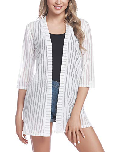 Lightweight Striped Sweater - iClosam Women Casual 3/4 Sleeve Sheer Open Front Cardigan Sweater (#1White(Striped), Small)