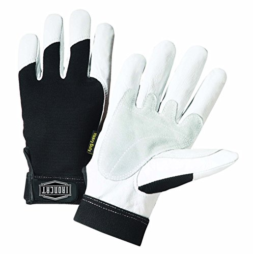 West Chester IRONCAT 86550 Heavy-Duty Goatskin Palm Gloves - [1 Pair] Small, Reinforced Palm and Thumb, Spandex Back, Hook and Loop Elastic Wrist