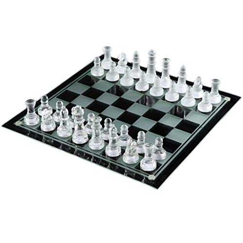 Luxury Elegant K9 Crystal Glass Chess Wrestling Packaging Chess Game International Checkers Chess Set Board Chess Game (Color : Clear, Size : 3535cm)