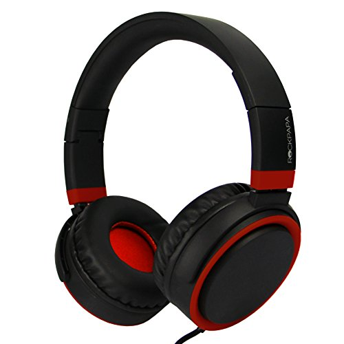 RockPapa GRAD On Ear Headphones Adjustable Foldabe Headsets 3.5mm Jack with Microphone Compatible iPad Cellphones Tablet Computer MP3/4 DVD Black Red