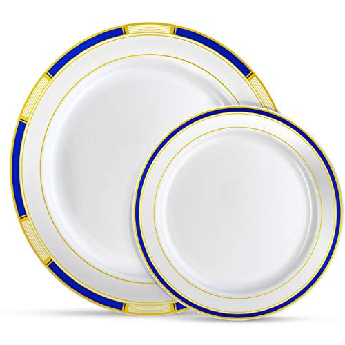 (Laura Stein Designer Dinnerware Set | 64 Disposable Plastic Party Plates | Plates with Blue Rim & Gold Accents | Includes 32 x 10.75