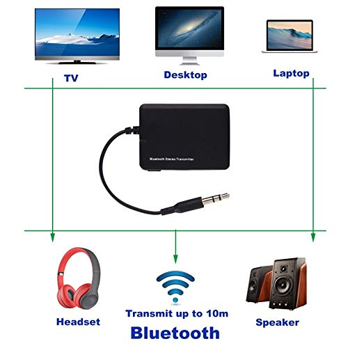 AgoHike Wireless Bluetooth Audio Transmitter 3.5mm A2DP Stereo Audio Adapter Dongle Sender Transmitter for TV Speaker MP3 Player