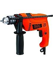 Black+Decker 650W 13mm Corded Electric Hammer Percussion Drill for Metal, Concrete & Wood Drilling, Orange/Black - HD650K-B5, 2 Years Warranty