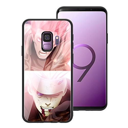 for Galaxy S9, Naruto 051 Design Tempered Glass Phone Case, Anti-Scratch Soft Silicone Bumper Ultra-Thin Galaxy S9 Cover for Teens and Adults - Might Guy vs Madara