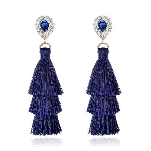 Long Tassel Earrings For Women Bohemian Drop Earrings Rhinestone Teardrop Dangle Earrings 3 Layered Multi Color Fringe Earrings ()