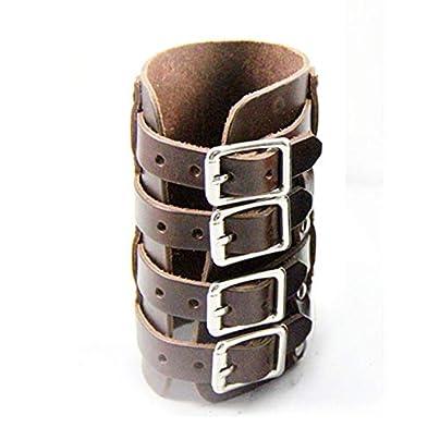 Kurphy Personalized Leather Wrist Bracer Steampunk Punk Style Armband Cuff Four Buckles Adjustable Wristband Jewelry Estimated Price £33.00 -