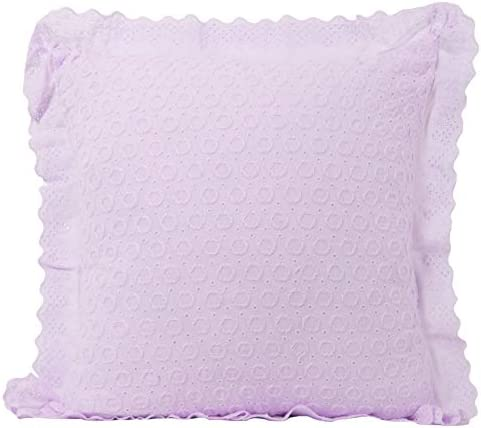 Urban Loft by Westex Eyelit Lace Polyester Filled Decorative Throw Pillow Cushion, 18 x 18 , Lilac