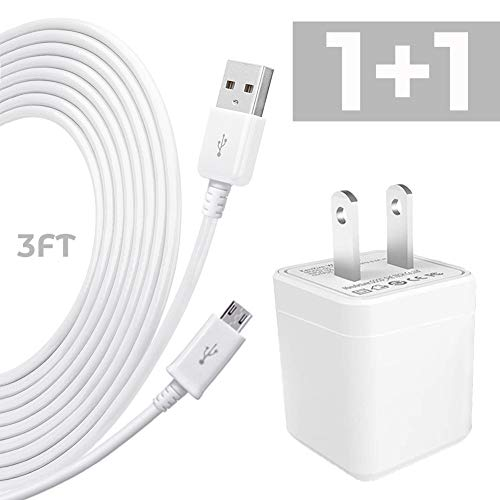 Price comparison product image USB to Micro USB Cable,  Wall AC Charger Adapter with 3 FT Long USB 2.0 A Male to Micro B Sync Cord for Android,  Samsung,  LG,  HTC,  Motorola,  Nokia,  MP3
