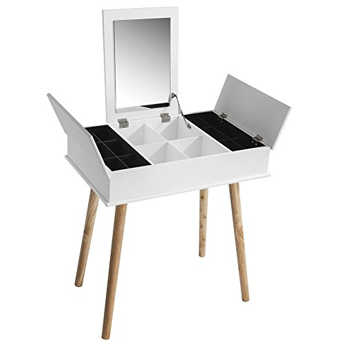 Wooden-Life Makeup Vanity Table with Flip Top Mirro, 3 Removable Organizers by Wooden-Life