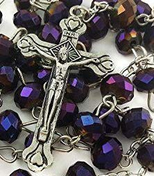 Holy Soil Purple Round Unique Rosary Beads \ Crucifix Cross Necklace Chain Pendant Catholic Religious Gift Standing Wall Decorative Pray Chapelet Jewelry Communion Icon Medal Spiritual