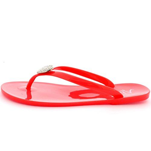 Viva Mujer Verano Fiesta Diamante Corazón Jalea Zapatos Chanclas Sandalias Coral