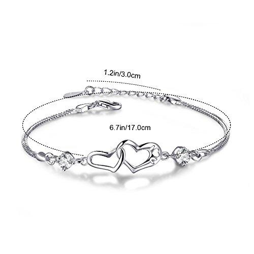 EVERU Heart Love Bracelet for Women, 925 Sterling Silver Adjustable Charm Forever Bracelet by EVERU (Image #4)