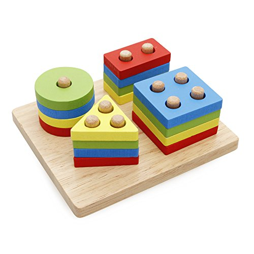 Toys Age 3 5 : Rolimate wooden educational preschool shape color