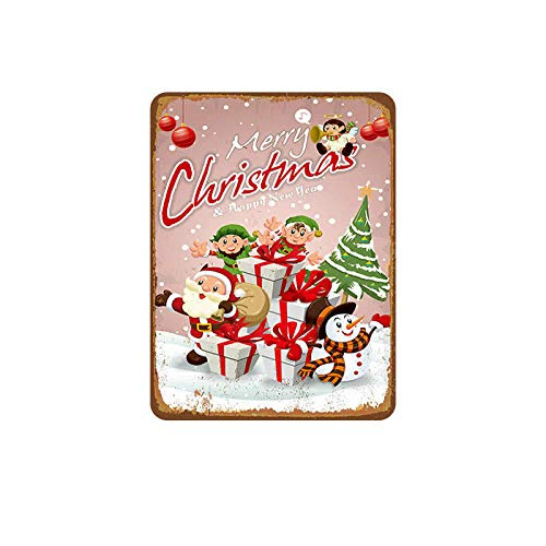 Novelty Funny Sign Merry Christmas Reindeer Vintage Metal Tin Sign Wall Sign Plaque Poster for Home Bathroom and Cafe Bar Pub, Wall Decor Car Vehicle License Plate Souvenir 11-17