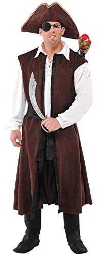 AMSCAN Long Brown Pirate Vest Halloween Costume Accessory for Adults, One Size]()
