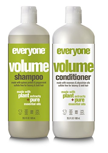 (EO Everyone Hair Sulfate Free Volume Shampoo and Conditioner Bundle with Coconut Fruit Extract, Peppermint Oil, Lemon Peel Oil and Rosemary Leaf, 20.3 fl. oz. each )