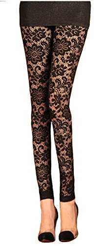 V28 Womens Stretchy Floral Lace Capri Leggings Tights (US: 8/10, Long-Black) -