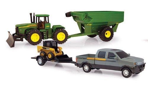 ERTL Toys John Deere Mega Hauling 2 Piece Set with Skid Steer Pickup Truck and Grain Cart Tractor (1:32 Scale)