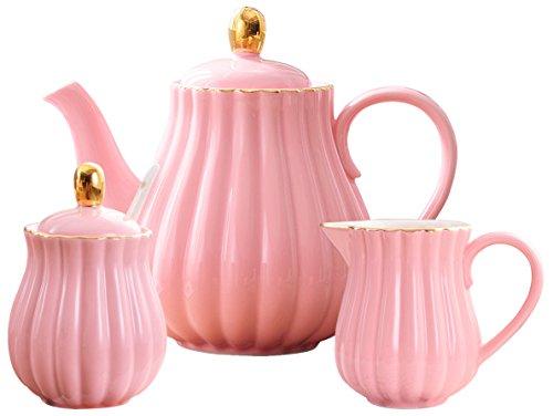 - Jusalpha Fine China Pink Teapot and Creamer set, (TW Teapot with creamer set)