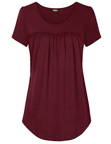 Yidarton Womens Scoop Neck Pleated Blouse Solid Color Tunic Tops Shirts