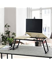 Innovareds® Portable Laptop Desk Notebook Stand Wooden Table Top Mixed with Sturdy Metal leg-Black Leg