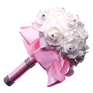 Creationtop Wedding Bouquet, White Bridesmaid Bridal Bouquet with Crystals & Soft Ribbons, Artificial Rose for Weddings, Church & etc (Pink) 113