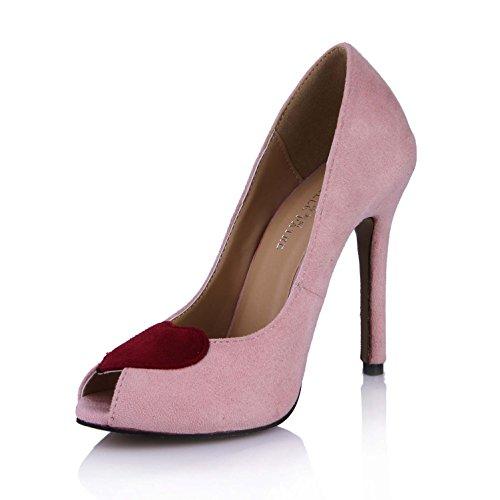 Best Sandals Spring Elastic 4U toe Pink Peep Sole Women's Shape Velvet High Heels Heart Pumps Shoes 12CM Rubber rqwnrdAI