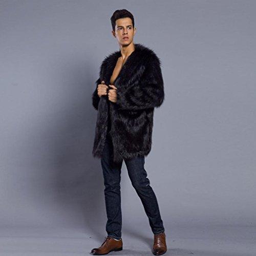 Morwind Hombre Invierno Abrigo, Prendas de Vestir Las Hombre de Otoño Invierno CáLido Abrigo Largo de Piel SintéTica de Pelo Chaqueta Outwear (M Busto: 104 ...