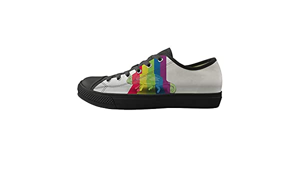 Lace-up Sneaker Training Shoe Mens Womens Chameleon Lizard Rainbow Color Stealth