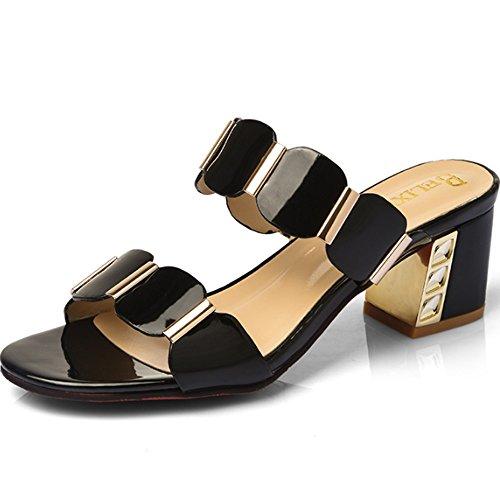 Cómodo Pantuflas femeninas del desgaste de la manera del verano Pantalones Señoras con los deslizadores frescos con las zapatillas En las sandalias (4 colores opcionales) (tamaño opcional) Aumentado ( A