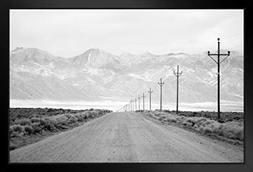 - Lone Road Power Lines Leading to San Juan Mountain Range Black and White Photo Framed Poster 20x14 inch