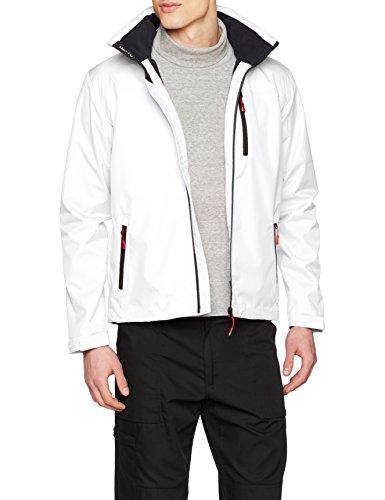 Helly Hansen Men's Crew Midlayer Fleece Lined Waterproof Windproof Breathable Sailing Rain Coat Jacket with Stowable Hood, 001 White, XX-Large by Helly Hansen